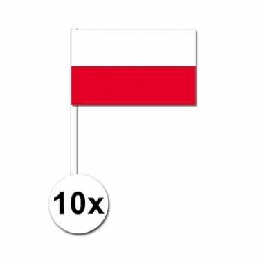 10 zwaaivlaggetjes poolse vlag