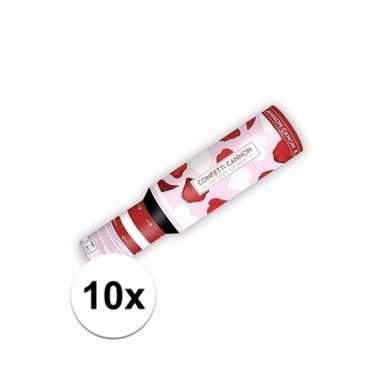 10x confetti shooter hartjes en rozenblaadjes