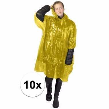 10x gele regen ponchos voor volwassenen