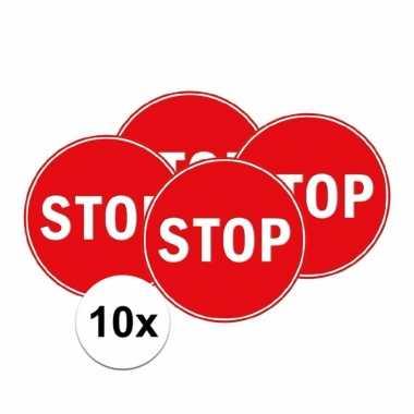 10x stop verkeersbordje voor slaapkamer