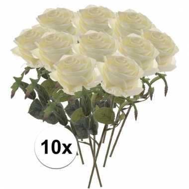 10x witte roos kunstbloem 45 cm