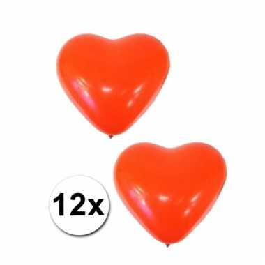 12 ballonnen in hartjes vorm rood
