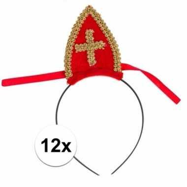 12 stuks sinterklaas rode diadeem voor kinderen