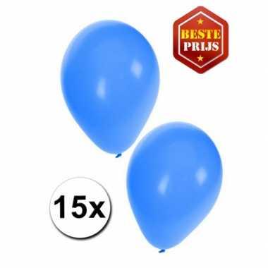 15 party ballonnen blauw gekleurd