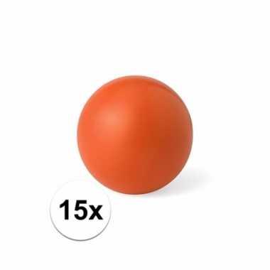 15x voordelige oranje weggeef artikelen stressballetjes