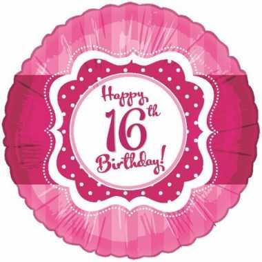 16 jaar folieballon roze