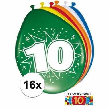 16 party ballonnen 10 jaar opdruk + sticker