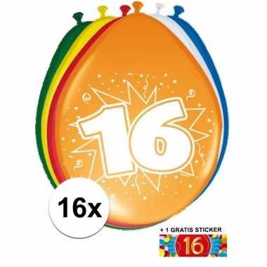 16 party ballonnen 16 jaar opdruk + sticker