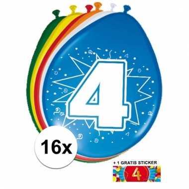 16 party ballonnen 4 jaar opdruk + sticker
