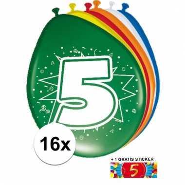 16 party ballonnen 5 jaar opdruk + sticker