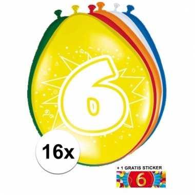 16 party ballonnen 6 jaar opdruk + sticker
