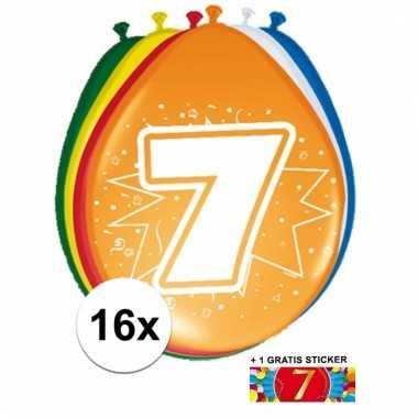 16 party ballonnen 7 jaar opdruk + sticker