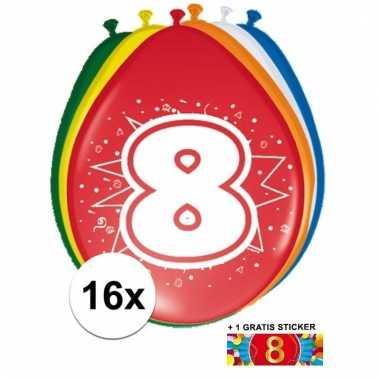 16 party ballonnen 8 jaar opdruk + sticker