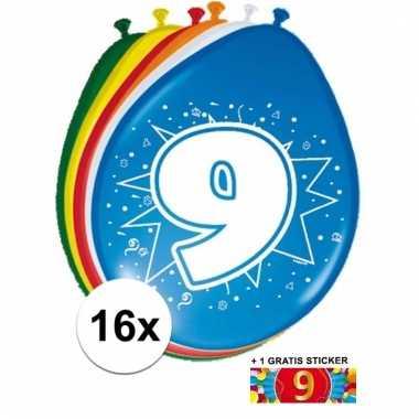 16 party ballonnen 9 jaar opdruk + sticker