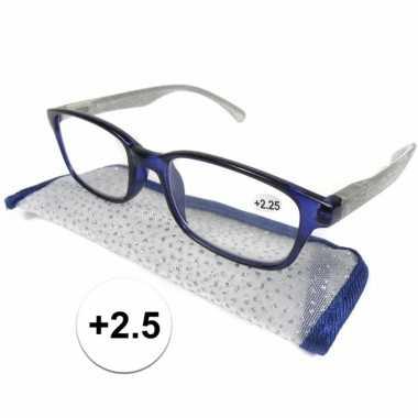 +2.5 leesbrillen blauw met zilver