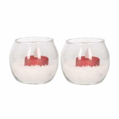 2 glazen theelichthoudertjes met led licht rood