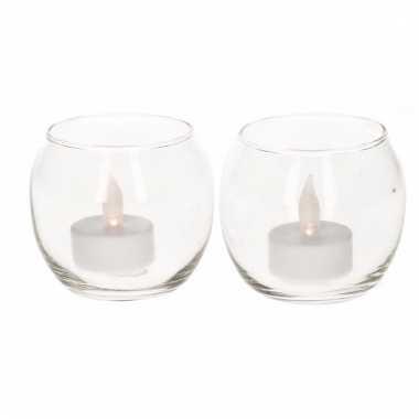 2 glazen theelichthoudertjes met led licht