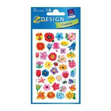2 vellen met bloemen stickers