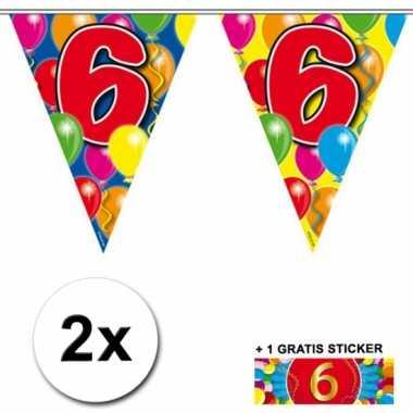 2 x leeftijd vlaggenlijnen 6 jaar met sticker