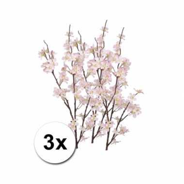 3 appelbloesem kunst takken roze 84 cm