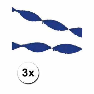 3 blauwe slingers van crepe papier 5 m