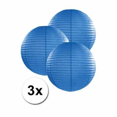 3 bolvormige lampionnen blauw 25 cm