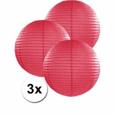 3 bolvormige lampionnen fuchsia roze 35 cm