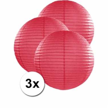 3 bolvormige lampionnen fuchsia roze 50 cm