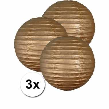 3 bolvormige lampionnen goud 35 cm