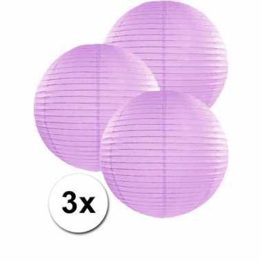3 bolvormige lampionnen lila 35 cm