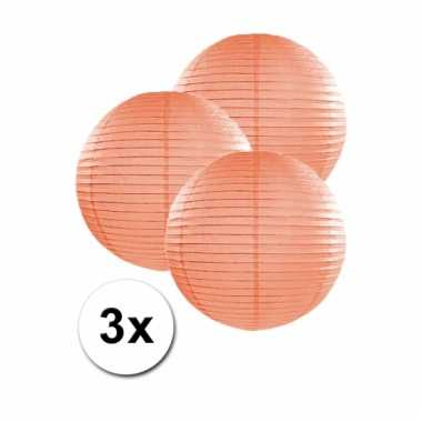 3 bolvormige lampionnen perzik 25 cm