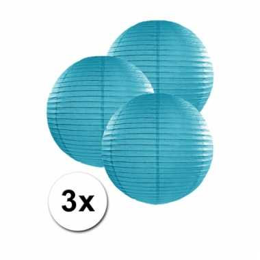 3 bolvormige lampionnen turquoise blauw 25 cm