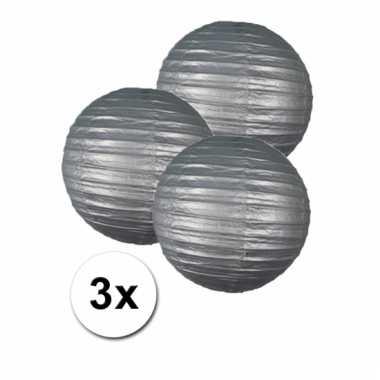 3 bolvormige lampionnen zilver 25 cm