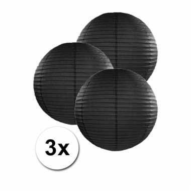 3 bolvormige lampionnen zwart 25 cm