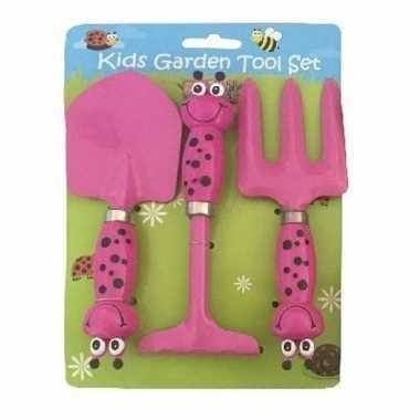 3-delige tuin speelgoedset roze voor jongens