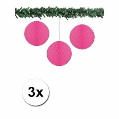 3 fuchsia roze decoratie bollen van papier 10 cm