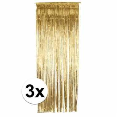 3 gouden folie gordijnen