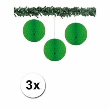 3 groenkleurige decoratie bollen van papier 10 cm