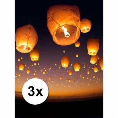 3 grote witte wensballonnen 50 x 100 cm