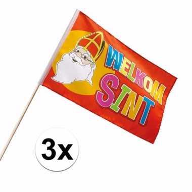 3 grote zwaaivlaggetjes welkom sinterklaas 30 x 45 cm intocht