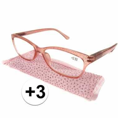+3 leesbrillen roze met glittertjes