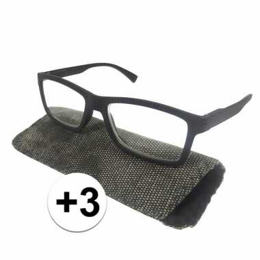 +3 leesbrillen zwart met rondjes