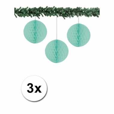 3 mintgroene decoratie bollen van papier 10 cm
