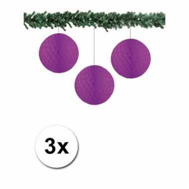3 paarse decoratie bollen van papier 10 cm