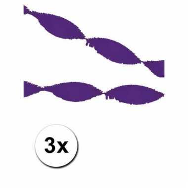 3 paarse slingers van crepe papier 5 m