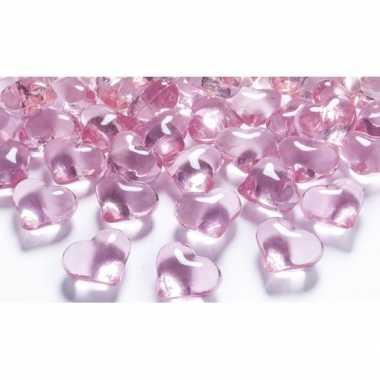 30 hart edelsteentjes lichtroze 2 cm