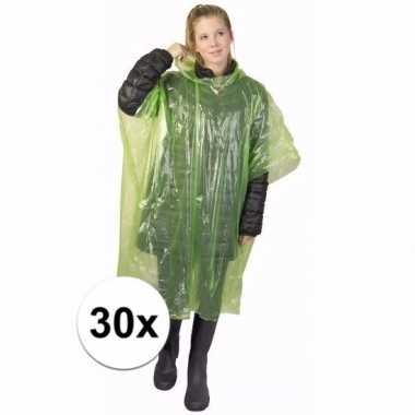 30x groene regen ponchos voor volwassenen