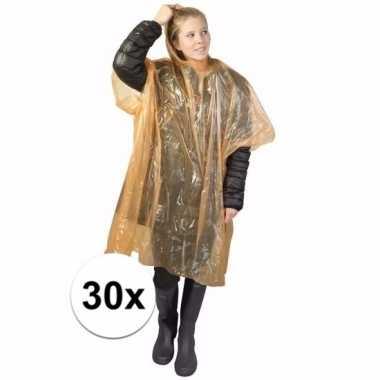 30x oranje regen ponchos voor volwassenen
