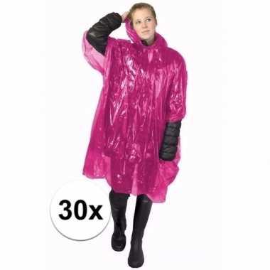 30x roze regen ponchos voor volwassenen