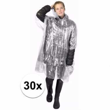 30x transparante regen ponchos voor volwassenen